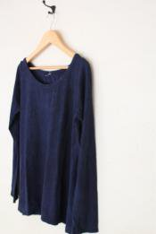 HEMP&COTTON レディース ボートネックロングスリーブTシャツ / 藍染めINDIGO