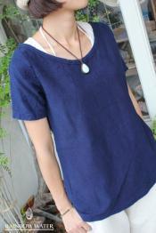 HEMP&COTTON レディース ボートネックT-シャツ / 藍染めINDIGO