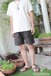 LINEN COTTON Men's ショートパンツ / 草木染めダークブラウン