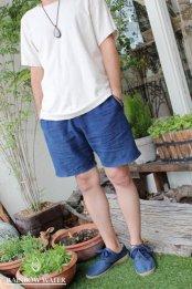 LINEN COTTON Men's ショートパンツ / 藍染めINDIGO