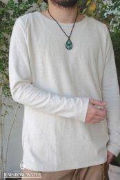 HEMP COTTON Men'sスリムロングスリーブTシャツ