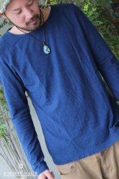 HEMP&COTTON Men'sスリムロングスリーブTシャツ / 草木染めINDIGO