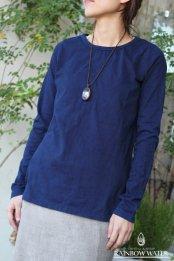 ORGANIC COTTON レディース ロングスリーブTシャツ / 藍染めINDIGO
