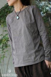 100%オーガニックコットン Lady's ロングTシャツ / 草木染めBROWNISH GRAY