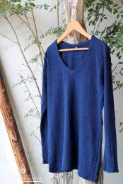 HEMP&COTTON レディース Vネック ロングスリーブTシャツ / 藍染めINDIGO