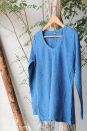 HEMP LINEN ORGANIC COTTON レディース VネックロングスリーブTシャツ / 藍染めLIGHT INDIGO