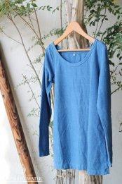 HEMP LINEN ORGANIC COTTON レディース ボートネックロングスリーブTシャツ / 藍染めLIGHT INDIGO