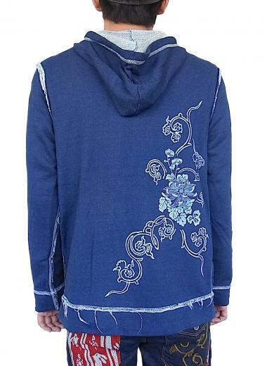 CHIKIRIYA(ちきりや) 綿インディゴ染裏毛素材長袖フードパーカー『菊唐草兎』