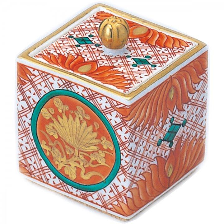 九谷焼 金襴手赤絵 | 四角の骨壺