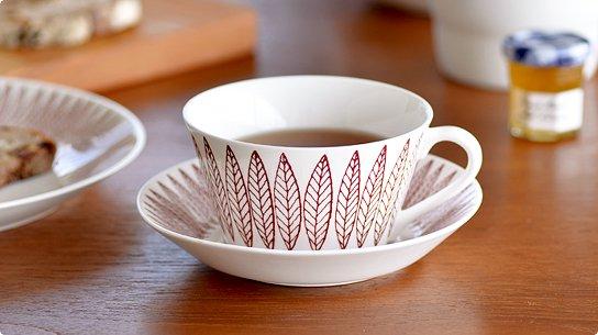 Gustavsberg│グスタフスベリ[SALIX RED(サリックス レッド)]ティーカップ&ソーサー