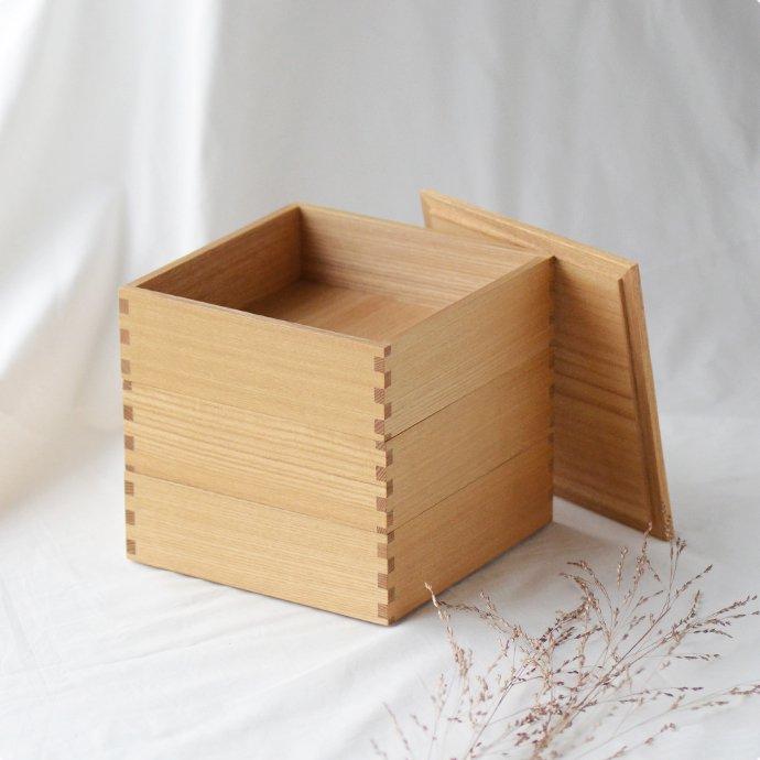 松屋漆器店 白木塗タモ[6寸]三段重箱(ハシュケ別注)