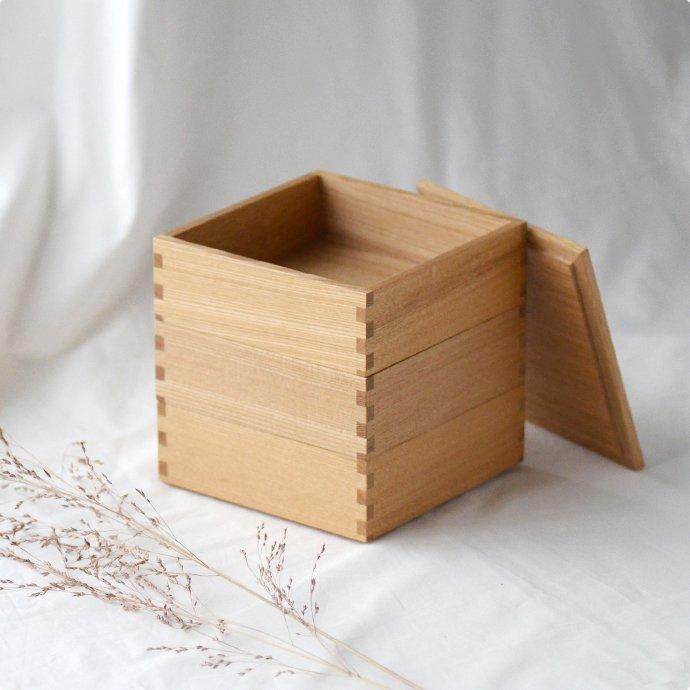 松屋漆器店 白木塗タモ[5寸]三段重箱(ハシュケ別注)