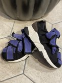 【RehersalL】cotton velour ribbon sneakers/23.5〜24.5cm blue salvia[WG845]