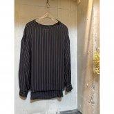 【hippiness】cupro long sleeve(stripe black)/ONEサイズ [H100026]