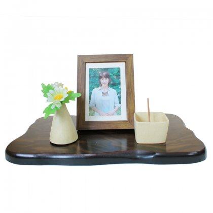 黒檀調飾り台(大)  + 一輪挿し&お香立て&写真立て