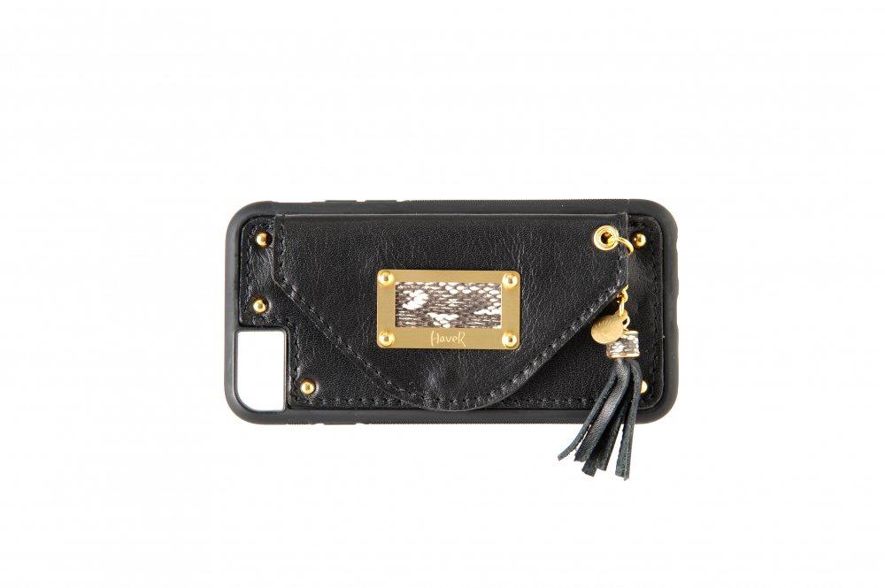 ハバー タッセル iPhone SE(2世代)・6・7・8  カードケース/ブラック