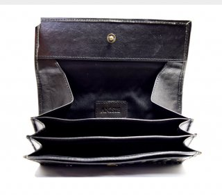 ギャルソン長財布 ハンドメイド メッシュ 高級本革 col.Black ブラック レディース/メンズ  シンプルでカード収納を重視 24枚 1807012