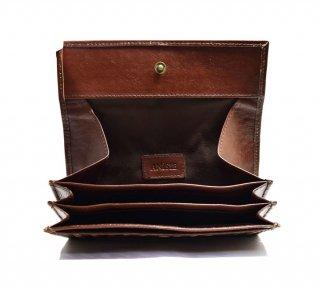 ギャルソン長財布 ハンドメイド メッシュ 高級本革 col.Brown ブラウン レディース/メンズ  シンプルでカード収納を重視 24枚 1807013