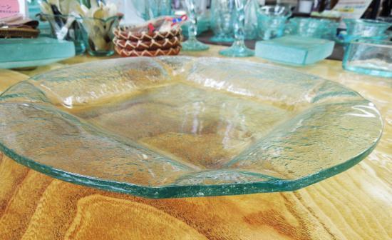 クリアガラスプレート 丸形型( 大 ) 【涼しげなバリガラス】