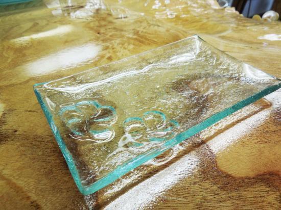 フランジパニ2輪クリアガラスプレート 長方形( 小 )【涼しげなバリガラス】