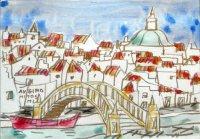 292.黄色い橋と赤い川舟