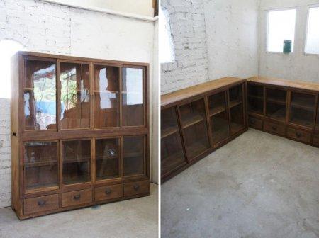 ゆらゆらガラスの重ね収納棚