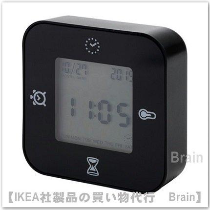 LÖTTORP:時計/温度計/アラーム/タイマー(ブラック)