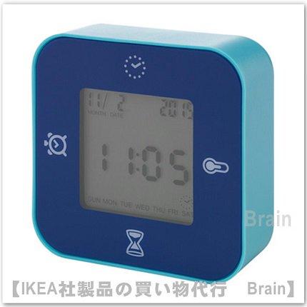 LÖTTORP:時計/温度計/アラーム/タイマー(ブルー)