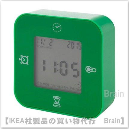 LÖTTORP:時計/温度計/アラーム/タイマー(グリーン)