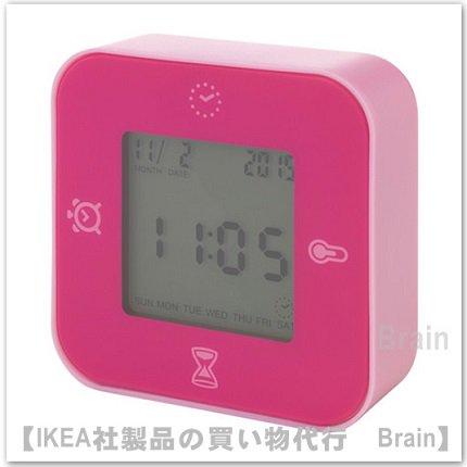 LÖTTORP:時計/温度計/アラーム/タイマー(ピンク)