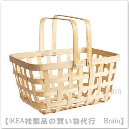 VIKTIGT:バスケット 取っ手付40x31x22 cm(竹)