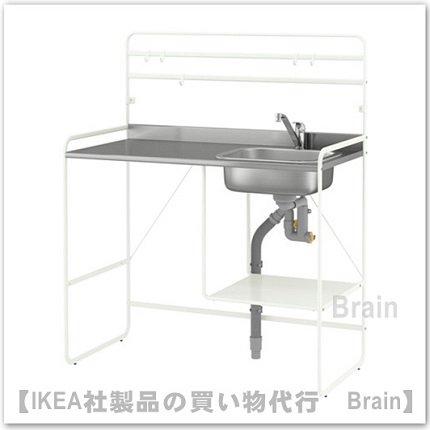 SUNNERSTA/LAGAN:ミニキッチン/シングルレバーキッチン混合栓112x56x139 cm(ホワイト/ステンレススチー…