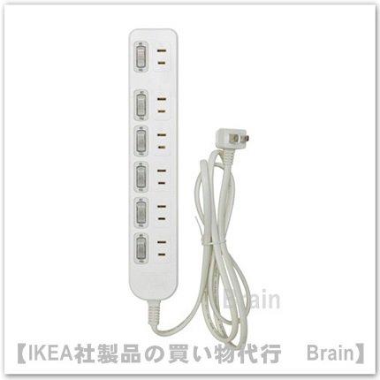 KOPPLA:電源タップ1.5 mスイッチ6個付き6個口/アース無(ホワイト)