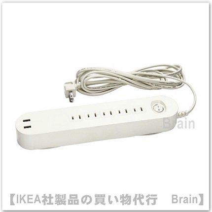KOPPLA:電源タップ3 m5個口 USBポート2口付き(ホワイト)