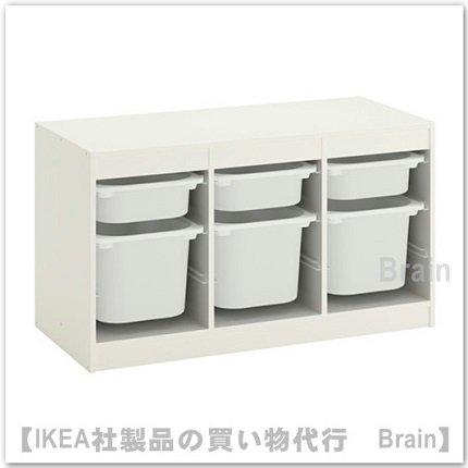TROFAST:収納コンビネーション ボックス付き99x56 cm(ホワイト/ホワイト)