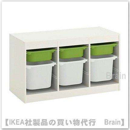 TROFAST:収納コンビネーション ボックス付き99x56 cm(ホワイト/グリーン)