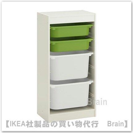 TROFAST:収納コンビネーション ボックス付き46x30x95 cm(グリーン/ホワイト)