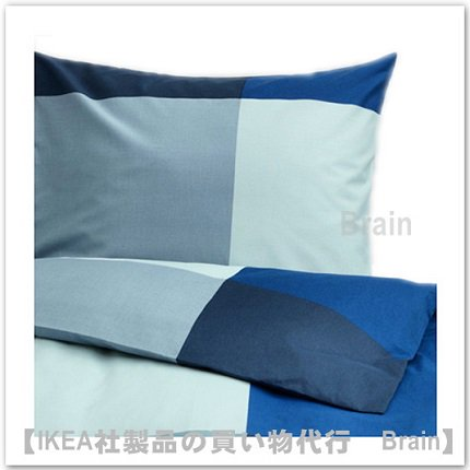 BRUNKRISSLA:掛け布団カバー&枕カバー(ブルー)【各サイズから選べます】