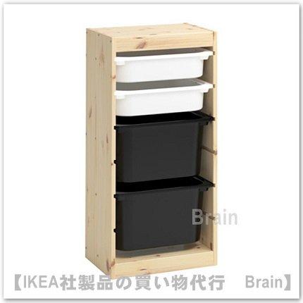 TROFAST:収納コンビネーションボックス付き44x30x91 cm(パイン材/ホワイト/ ブラック )