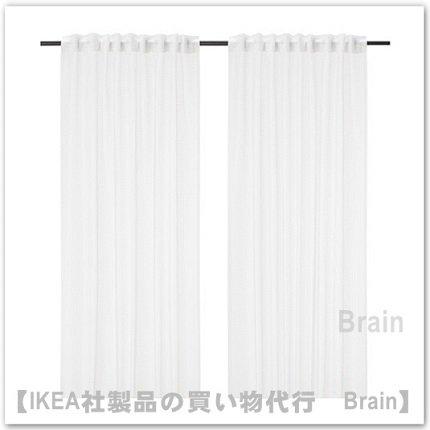 TARALD:シアーカーテン1組145x250 cm(ホワイト/チェック)