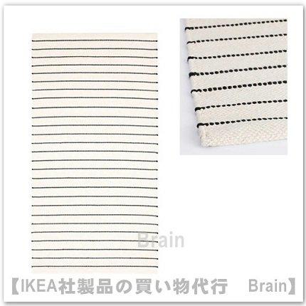 TÖRSLEV:ラグ 平織り80x150 cm(ホワイト/ブラック)