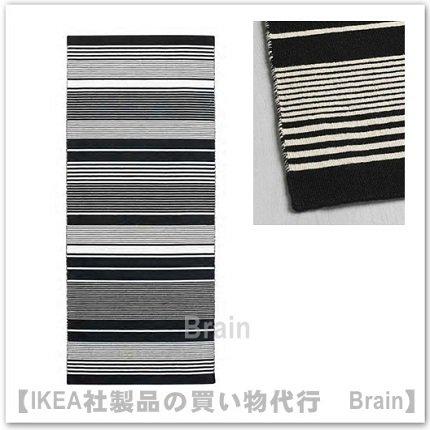 VESLÖS:ラグ 平織り80x200 cm(ブラック/ホワイト)