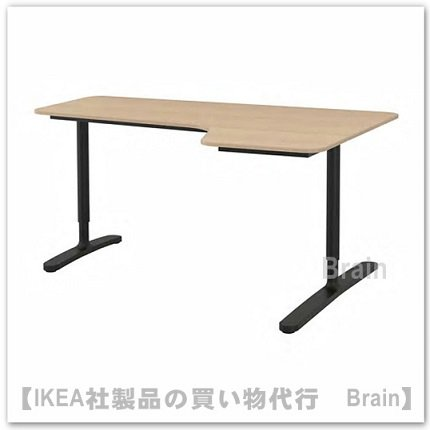BEKANT:コーナーデスク 【右】160×110�(ホワイトステインオーク材突き板/ブラック)