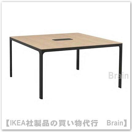 BEKANT:会議用テーブル140×140�(ホワイトステインオーク材突き板/ブラック)