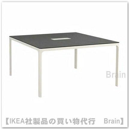 BEKANT:会議用テーブル140×140�(ブラックステインアッシュ材突き板/ホワイト)