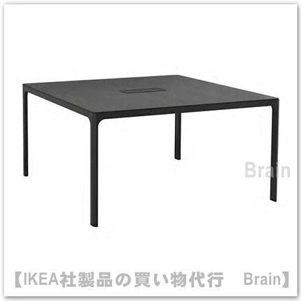 BEKANT:会議用テーブル140×140�(ブラックステインアッシュ材突き板/ブラック)
