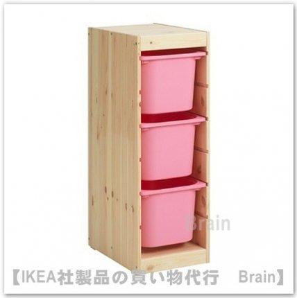 TROFAST:収納コンビネーションボックス付き32x44x91 cm(ライトホワイトステインパイン/ピンク)