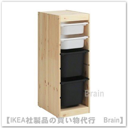 TROFAST:収納コンビネーションボックス付き32x44x91 cm(ライトホワイトステインパイン/ホワイト/ ブラック)