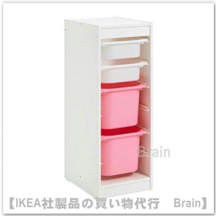 TROFAST:収納コンビネーション ボックス付き34x44x94 cm(ホワイト/ホワイト/ピンク)