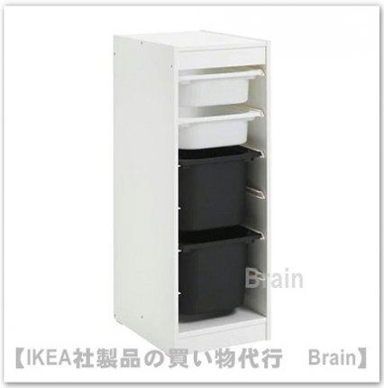 TROFAST:収納コンビネーション ボックス付き34x44x94 cm(ホワイト/ホワイト/ブラック)
